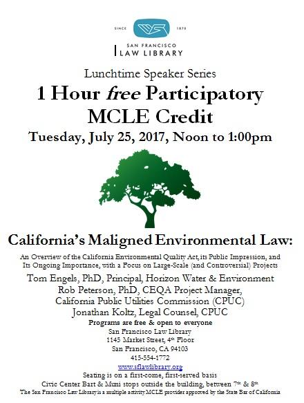 July 25, 2017 CEQA MCLE Flyer