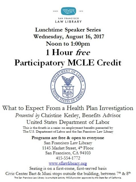 Aug 16 2017 Health Plan Investigation MCLE Flyer