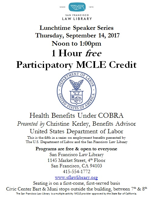Sept 14 2017 Health Benefits Under COBRA MCLE flyer