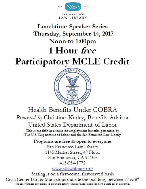 Sept 14 2017 Health Benefits Under COBRA MCLE flyer