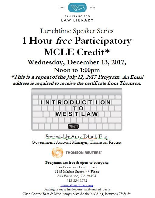 Intro to Westlaw MCLE Dec 13 2017 Flyer