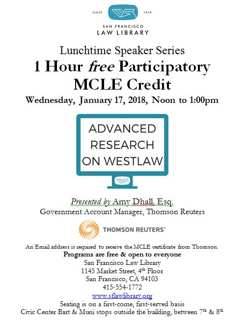 Jan 17 2018 Adv Research on Westlaw MCLE Flyer