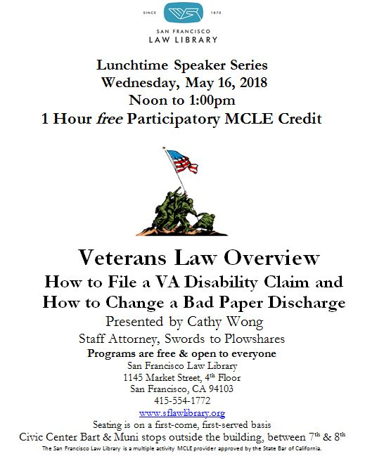 May 16 2018 Veterans Benefits MCLE Flyer
