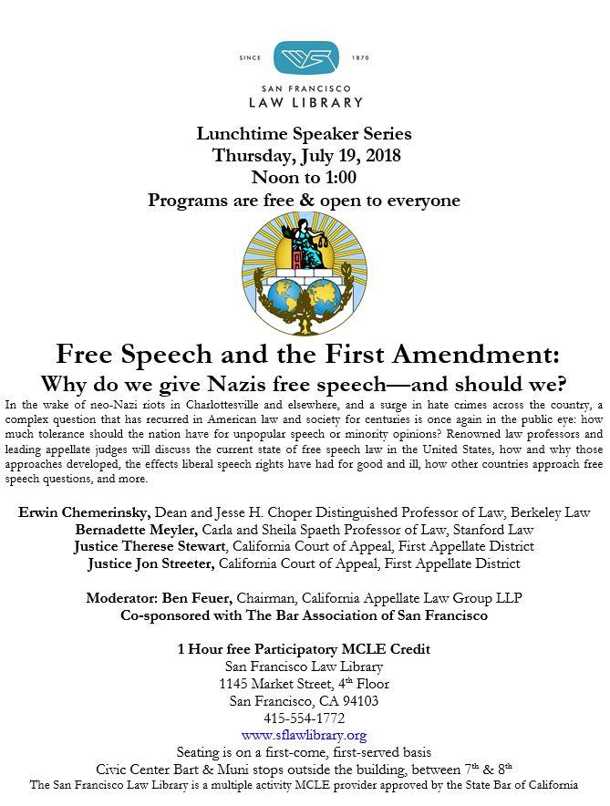 July 19 2018 Free Speech MCLE Flyer