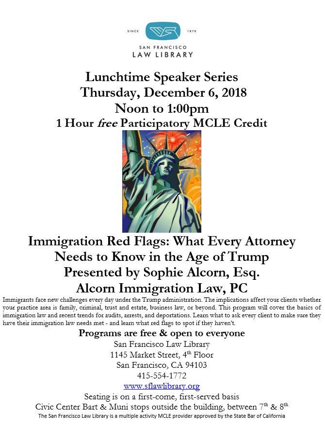 Dec 6 2018 Immigration MCLE Flyer