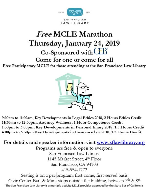 January 24 2019 MCLE Marathon Flyer