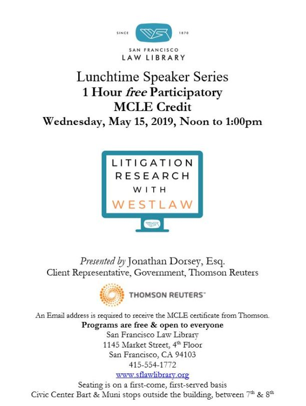 May 15 2019 Litigation Research With Westlaw MCLE Flyer
