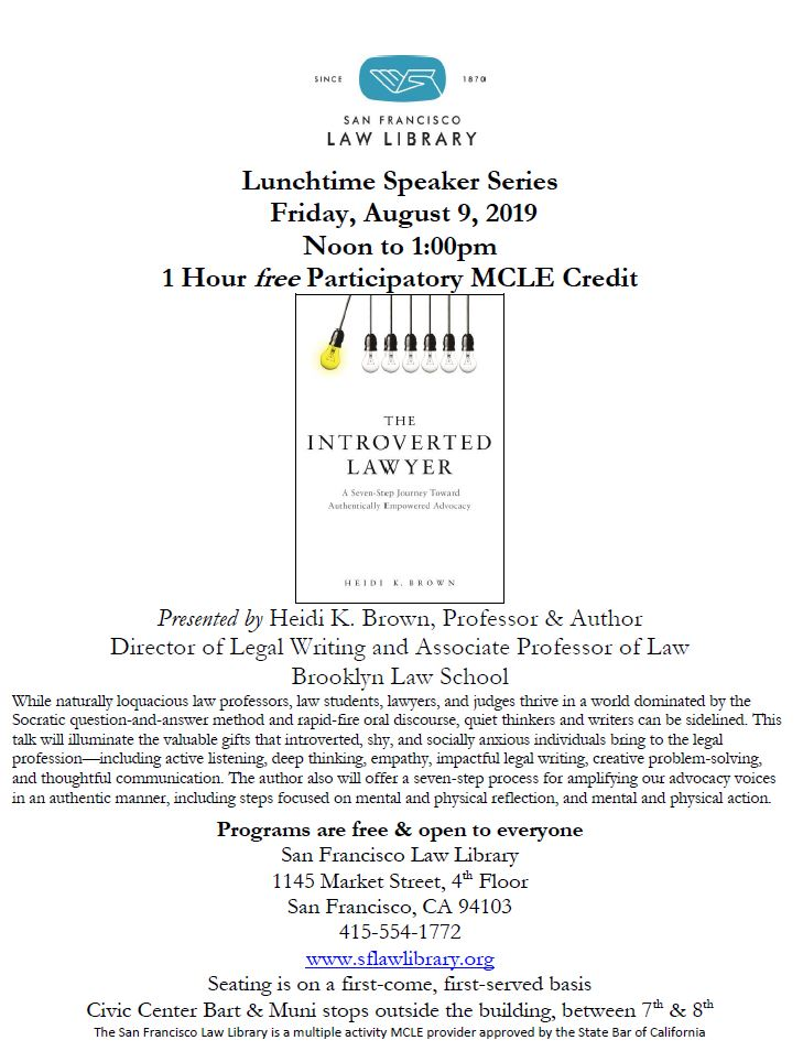 Aug 9 2019 Introverted Lawyer MCLE Flyer