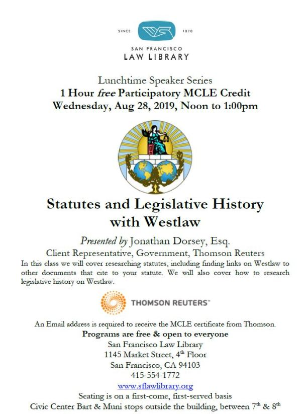 Aug 28 2019 Statutes and Leg Hist with Westlaw MCLE Flyer