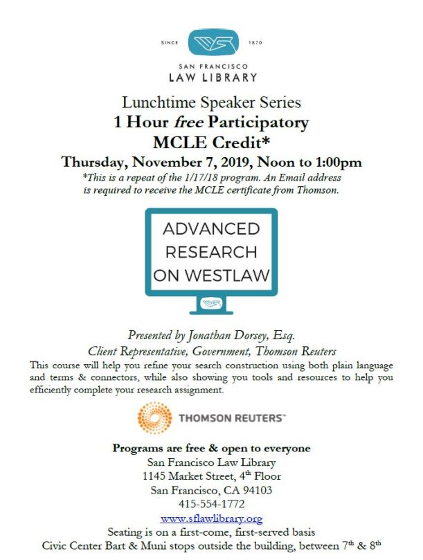 Nov 7 2019 Adv Research on Westlaw MCLE Flyer