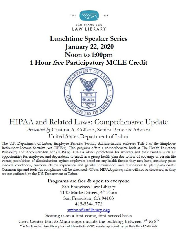 Jan 22 2020 DOL HIPAA MCLE Flyer