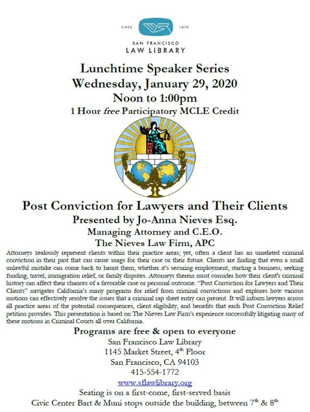 January 29 2020 Post Conviction MCLE Flyer