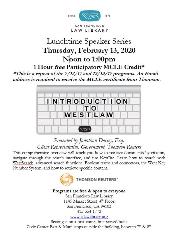 Feb 13 2020 Intro to Westlaw MCLE Flyer