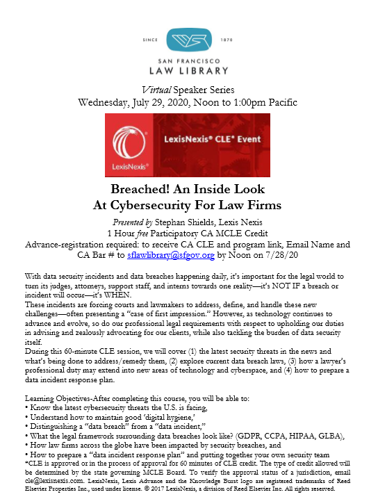 July 29 2020 Lexis Cybersecurity MCLE Flyer